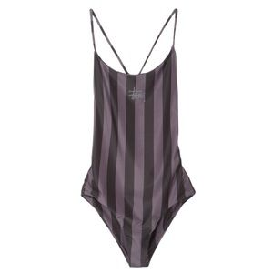 Black STUSSY Carter Stripe one pc swim suit